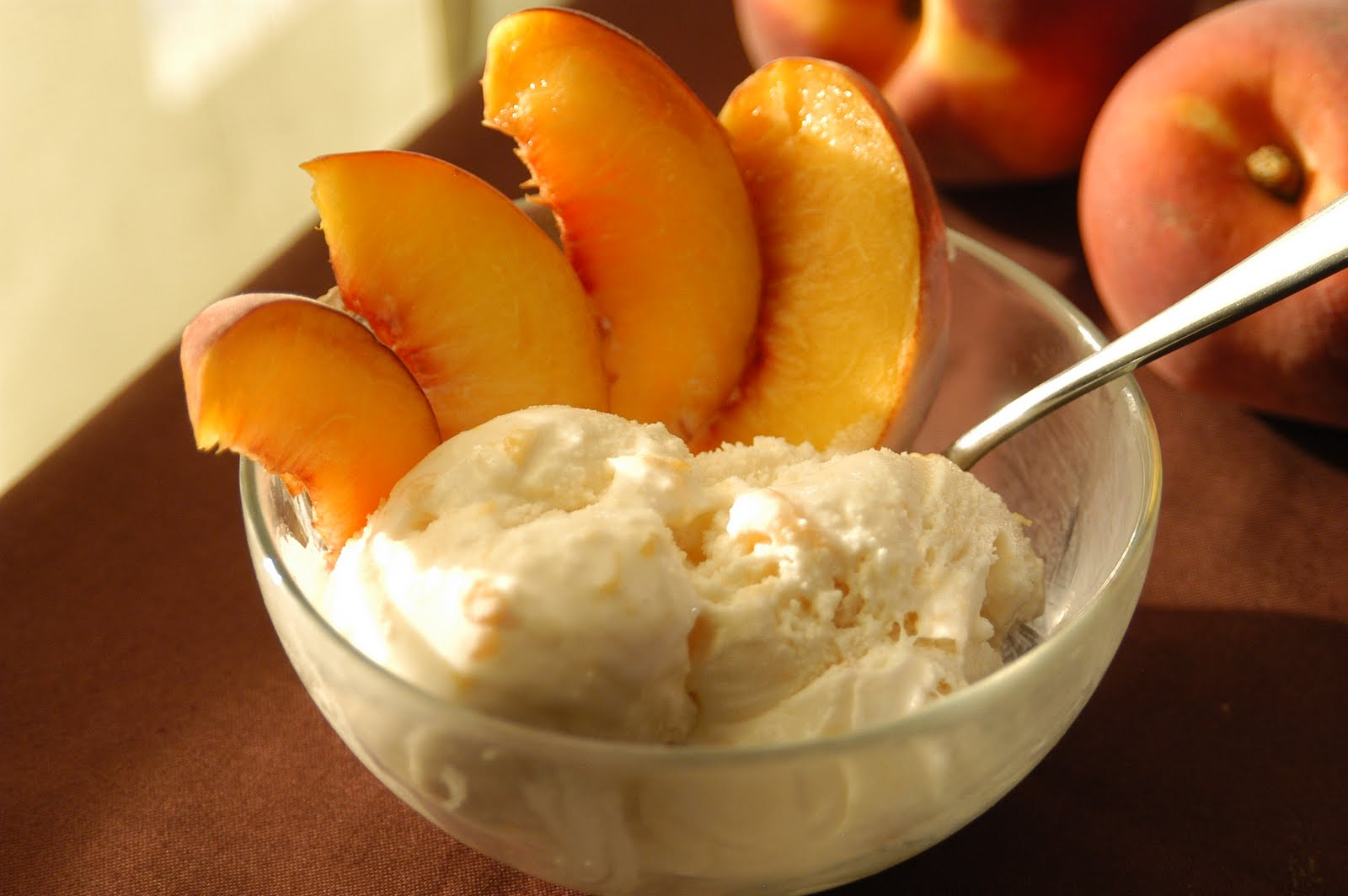 Peach ice cream is a cool treat for a hot summer day