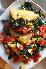 Smoked Cheddar Polenta with Tomatoes and Kale