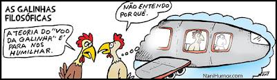 TIRAS: As Galinhas Filosóficas. voo da galinha