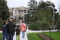 Fountain inside the garden.Main Entrance Dolmabahce Palace