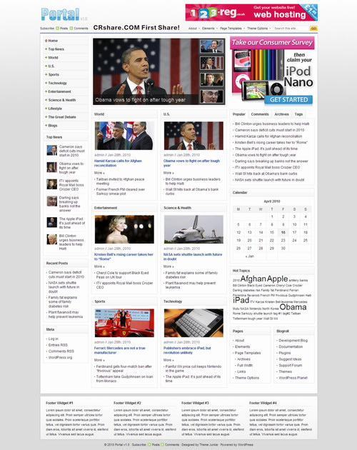News Portal 1.0 theme by Themejunkie Free Download.
