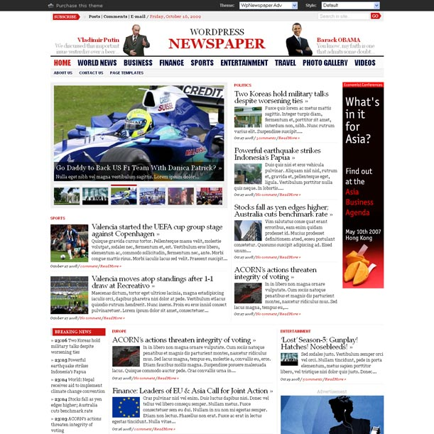 Image for WP Advanced Newspaper Theme by Gabfire