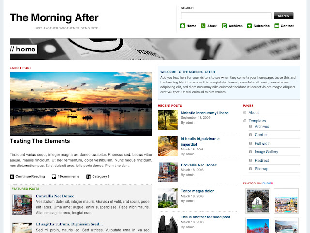 The Morning After WordPress Theme by WooThemes Free Download.