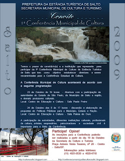 Convite para a Iª Conferência Municipal de Cultura de Salto/SP - 2009
