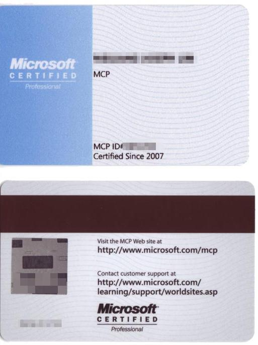 It Certification How The Mcp Card Looks Like