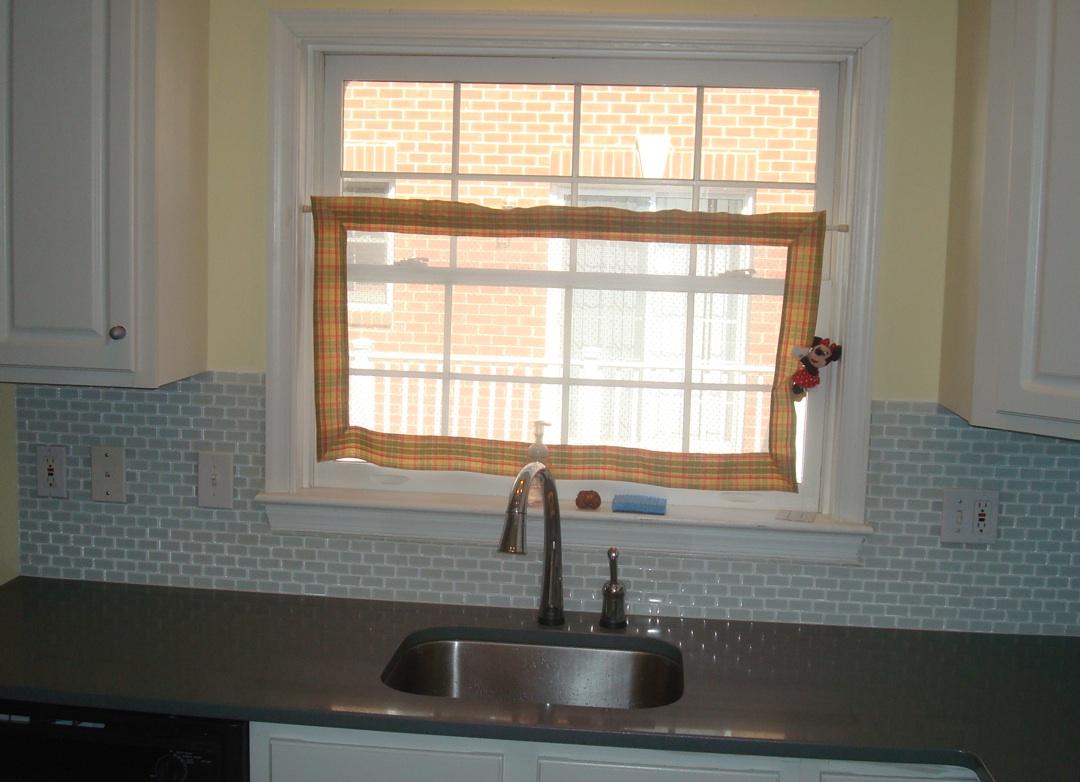Glass Tile Kitchen Window Sill