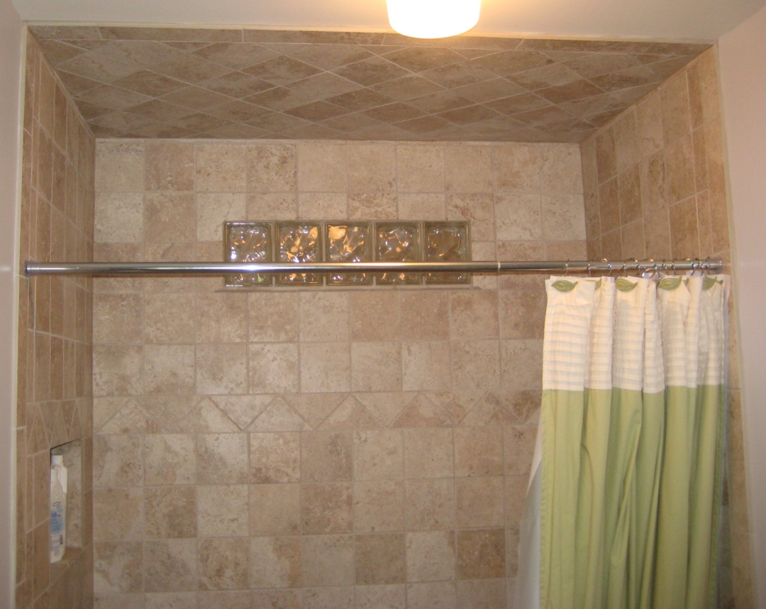 straight edge tile stone shower with glass blocks insert boxes - Bathroom Designs Using Glass Blocks