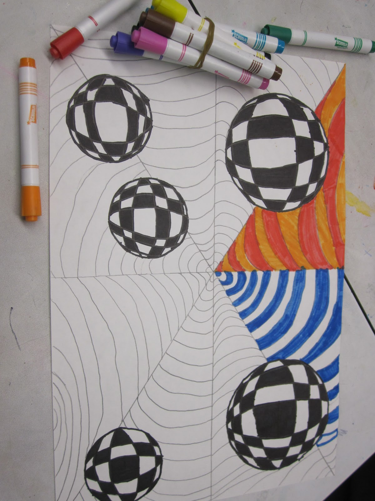 Op art uses color to create - Then Create Curved Lines In The Form Of A Frown Face Line In The Leftover Triangles Use Four Colors To Fill In Every Other Triangle