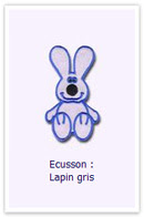 Ecusson Lapin gris Customize.fr