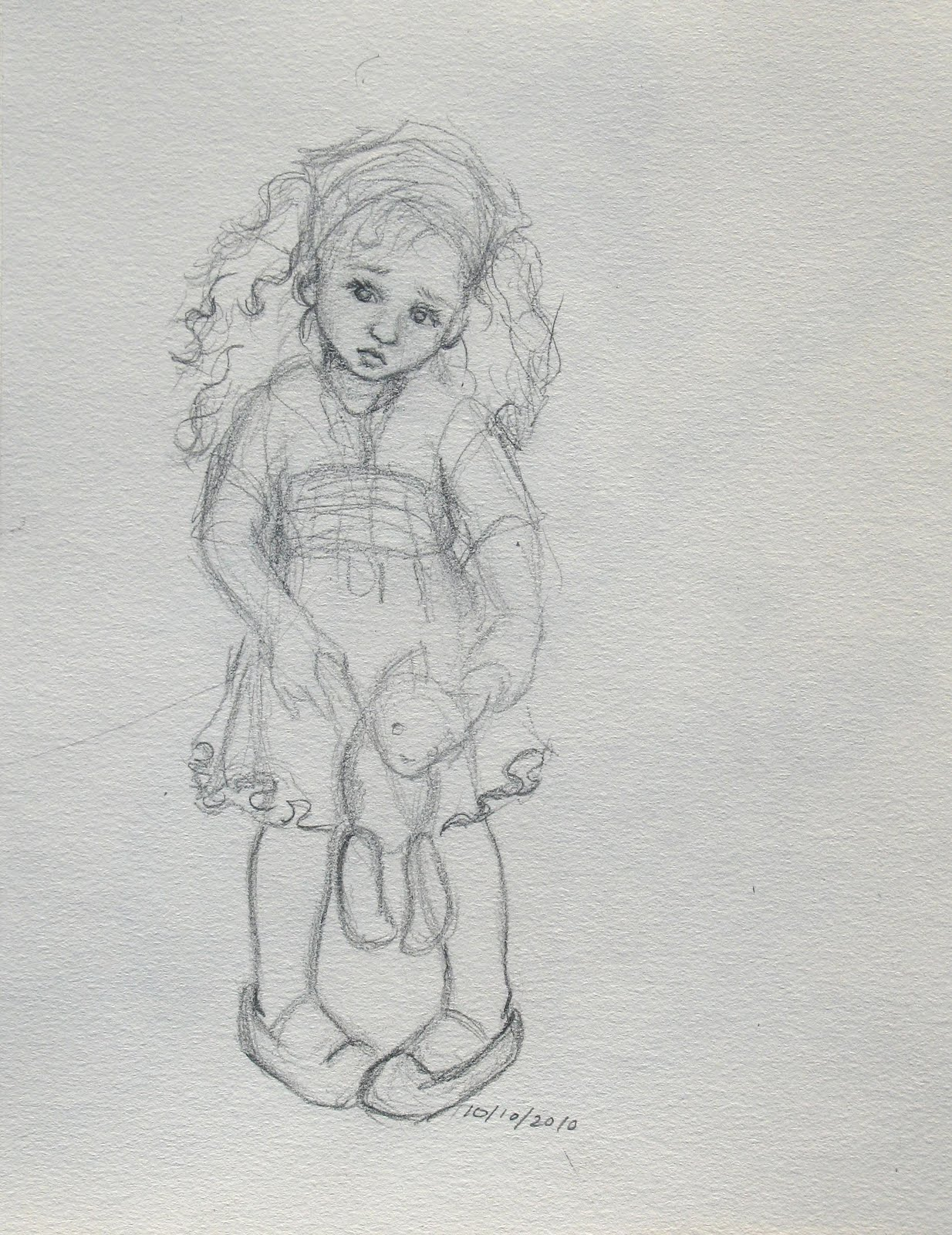 Sad little girl sketches images for How to draw a little girl easy