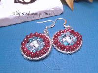 Ruby & Aquamarine Circles Earrings