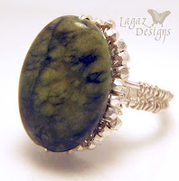 Mossy Green Silver Weave Ring