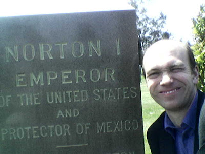 Norton I and yours truly, Woodlawn Cemetery, Colma, CA