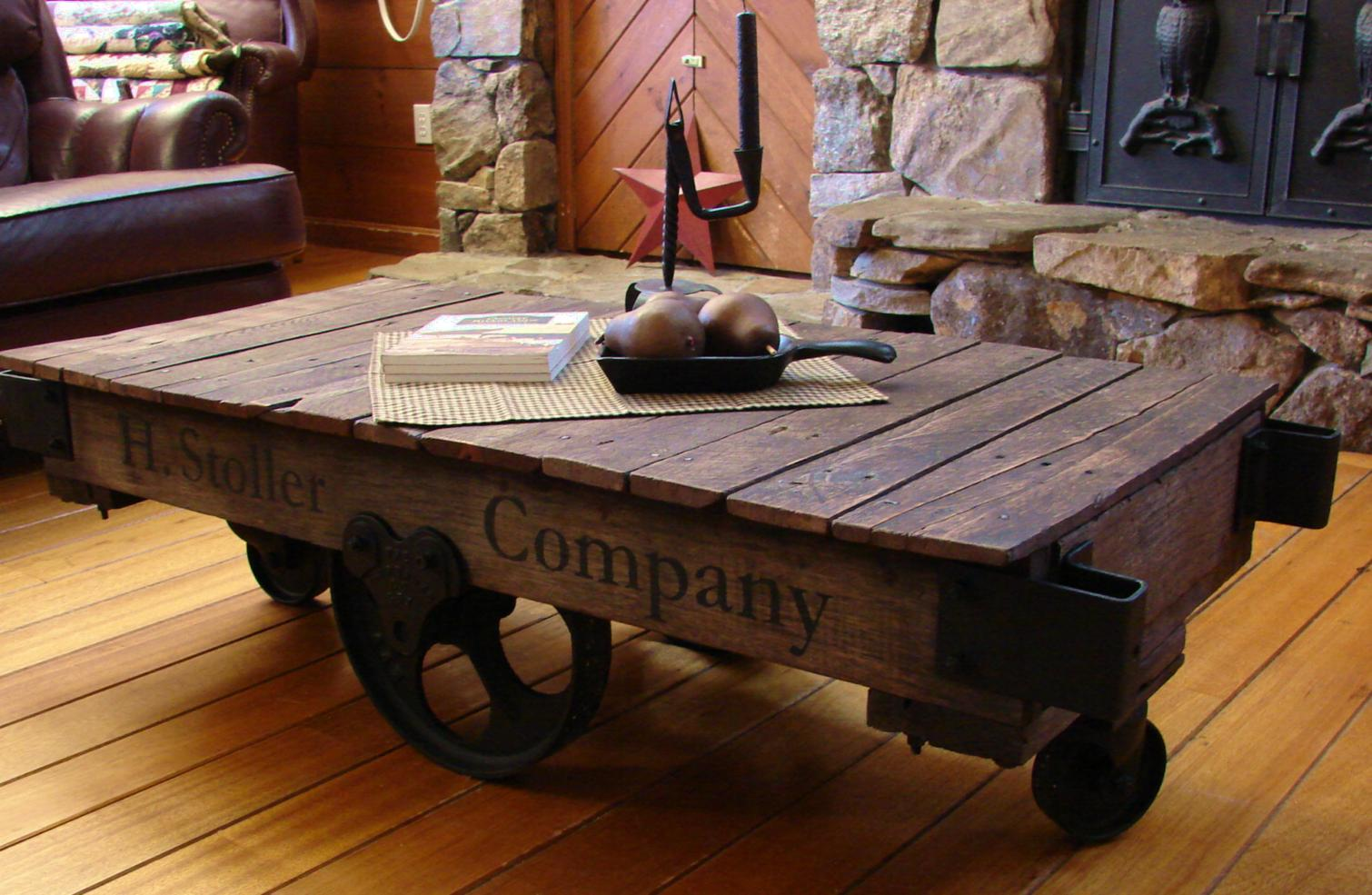 Pieced pastimes factory cart coffee table for Cart coffee table