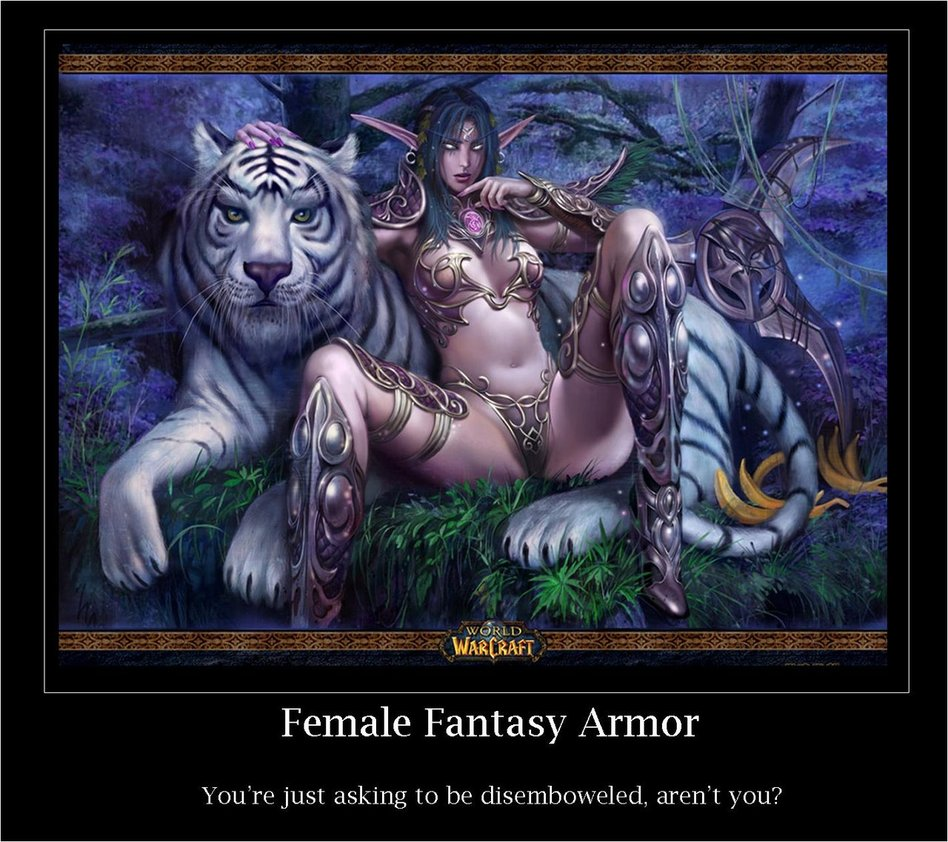 Indefinitely not Fantasy female armor meme rather valuable