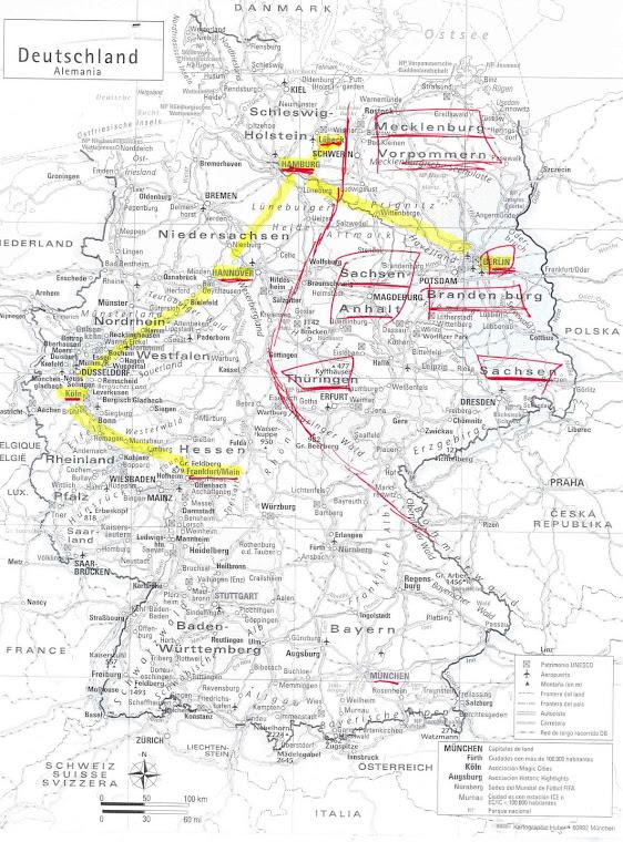 Alemania con la separación (según la guía)