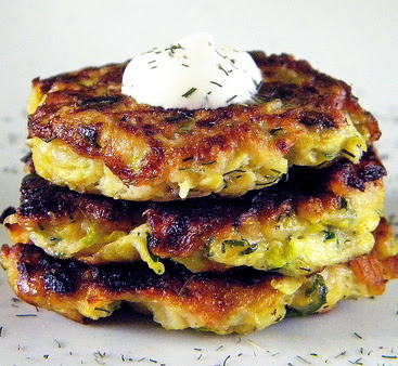 Kolokithokeftedes (Greek Zucchini Fritters) With Tzatziki Recipe ...