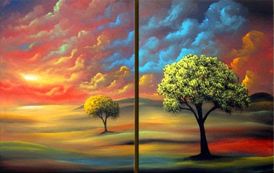 two panel landscape painting by Matthew Hamblen