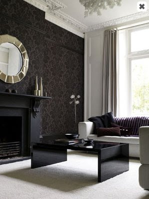 Wordless wednesday nicnacmaniac for Damask wallpaper living room ideas