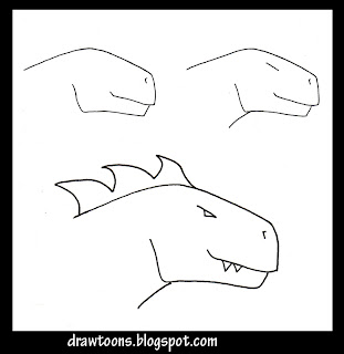 how to draw a cartoon dragon step by step