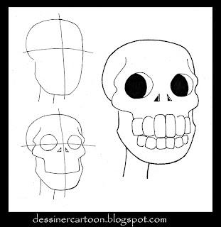 Conseil de dessin sur une tête de mort cartoon