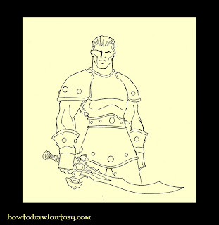 Fantasy art. Drawing of a warrior with his sword, wearing a studded leather armor.