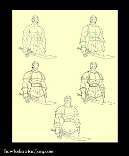 Studded leather armor step by step drawing tutorial. Medieval fantasy comicbooks art.