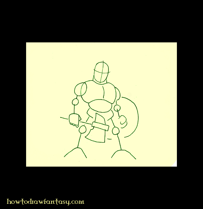 How to draw fantasy. Warrior dwarf with axe, armor, helm and shield.