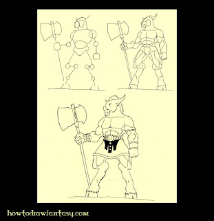 How to draw a minotaur warrior