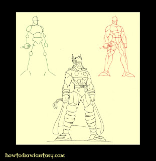 How to draw Thor the Marvel Avenger step by step