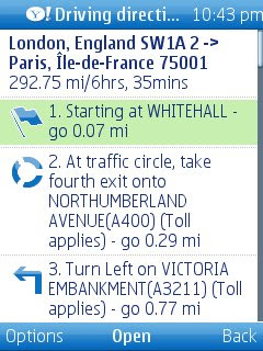 Yahoo Go Maps Directions