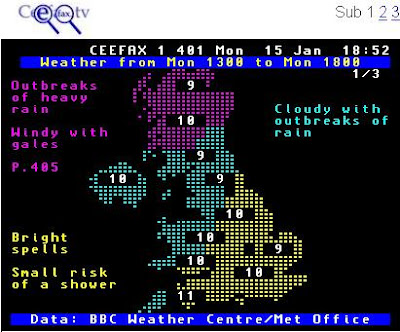 Ceefax Weather Map Page 401 BBC Ceefax