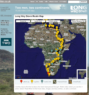 BBC Long Way Down Map