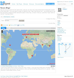 Yahoo Pipe Map - Author Vivek C
