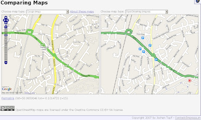 Comparing TeleAtlas Google Maps with Open Street Map