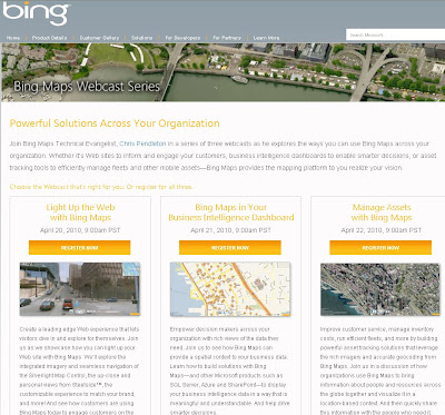 Bing Maps Webcasts April 2010