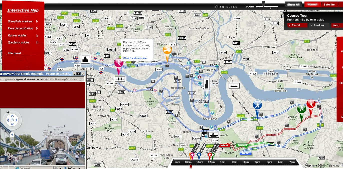 london marathon map 2010 now with streetview