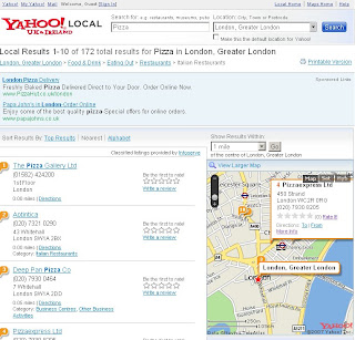 Yahoo Local London Nearest - No Radius Search Circle