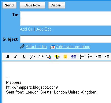 Gmail compose email signature with location