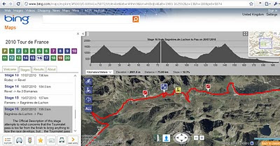 Tour de France Bing Maps App