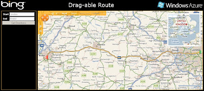 Bing Maps Draggable Route