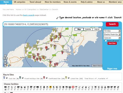 SiteSeeker Caravan sites Google Map cornwall within 10 mile radius