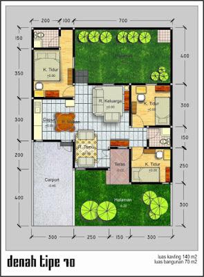 Gambar Desain Denah Rumah type 70