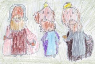 Desenho dos três Reis Magos