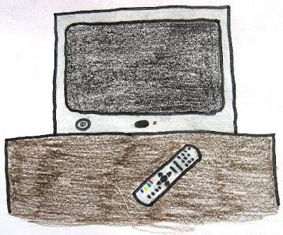 Desenho de uma Televisão com comando