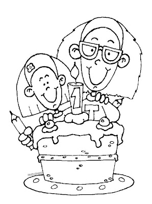 Desenho para pintar: Primeiro Aniversário!
