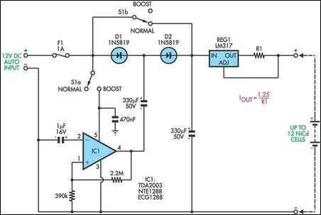 simple charger circuit charges up to 12 nicd cells electric fence electric fence charger schematic Electric Fence Circuit Diagram at mifinder.co