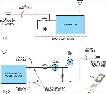 Radio controlled electronic flash circuit schematic