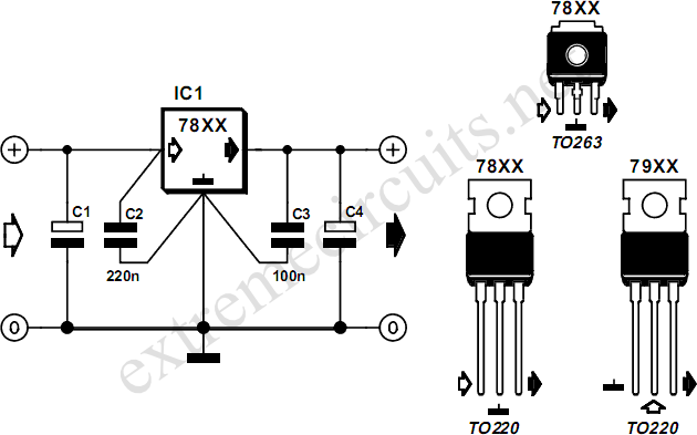 wiring circuit  78xx voltage regulators