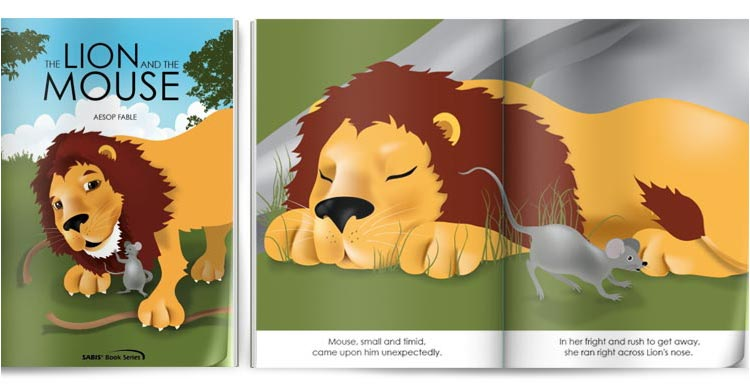 The lion and the mouse educational illustrations